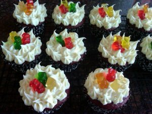Red Velvet Gummy Bear Cupcakes